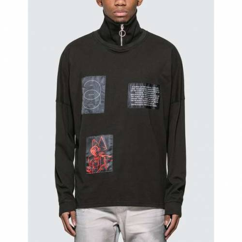 GEO スリーブ 黒 ブラック 【 SLEEVE BLACK GEO PATCHWORK HINECK LONG 】 メンズファッション トップス Tシャツ カットソー