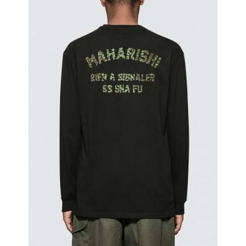 MAHARISHI 長袖 ロングスリーブ Tシャツ 黒 ブラック 【 BLACK MAHARISHI SIGNALER L S TSHIRT 】 メンズファッション トップス Tシャツ カットソー