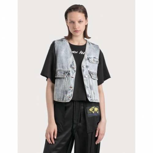 MM6 MAISON MARGIELA デニム ベスト レディース 【 Denim Vest With Crossbody Pocket 】 Blue 80's Snow