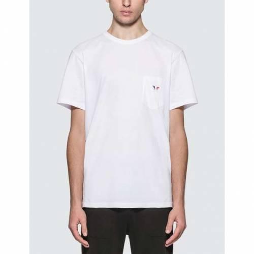 MAISON KITSUNE フォックス Tシャツ メンズファッション トップス カットソー メンズ 【 Tricolor Fox Patch T-shirt 】 White