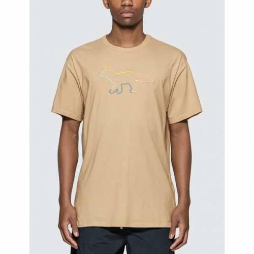 MAISON KITSUNE フォックス Tシャツ 【 MAISON KITSUNE RAINBOW PROFILE FOX EMBROIDERY TSHIRT BEIGE 】 メンズファッション トップス Tシャツ カットソー