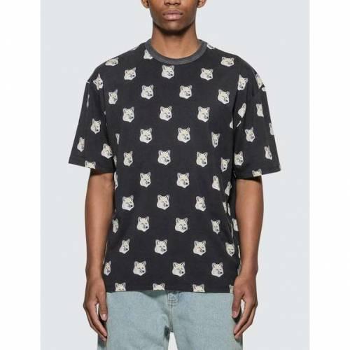 MAISON KITSUNE フォックス Tシャツ 黒 ブラック 【 BLACK MAISON KITSUNE ALLOVER PASTEL FOX HEAD TSHIRT 】 メンズファッション トップス Tシャツ カットソー