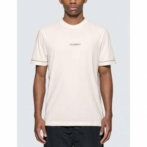 CP COMPANY ロゴ Tシャツ 白 ホワイト 【 WHITE CP COMPANY LOGO PRINT TSHIRT GAUZE 】 メンズファッション トップス Tシャツ カットソー