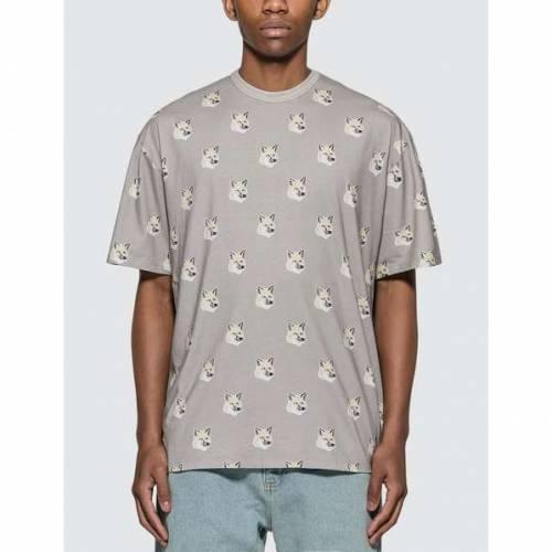 MAISON KITSUNE フォックス Tシャツ GRAY灰色 グレイ 【 GREY MAISON KITSUNE ALLOVER PASTEL FOX HEAD TSHIRT LIGHT 】 メンズファッション トップス Tシャツ カットソー