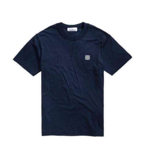 STONE ISLAND ロゴ Tシャツ メンズファッション トップス カットソー メンズ 【 Garment Dyed Patch Logo Tee 】 Blue Marine