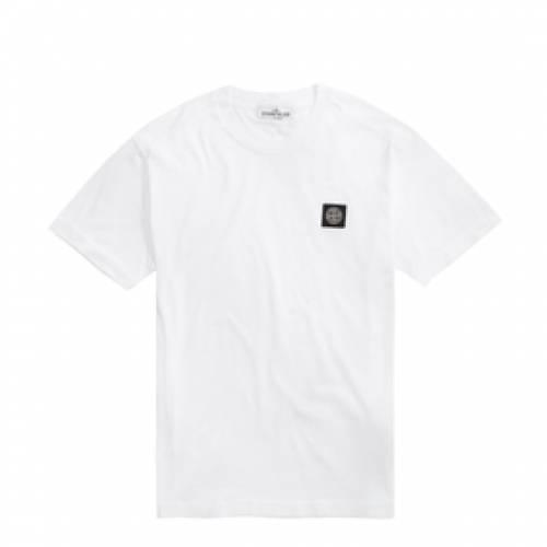 STONE ISLAND ロゴ Tシャツ メンズファッション トップス カットソー メンズ 【 Garment Dyed Patch Logo Tee 】 White