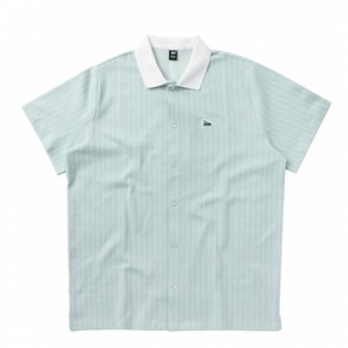 PATTA テニス 青 ブルー 【 BLUE PATTA PINSTRIPE TENNIS SHIRT BABY 】 メンズファッション トップス