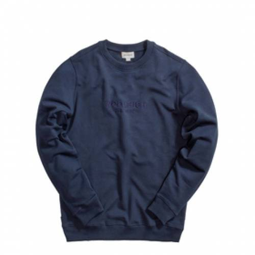 WOOLRICH 青 ブルー 【 BLUE WOOLRICH LUXURY LIGHT CREW NECK MELTON 】 メンズファッション トップス