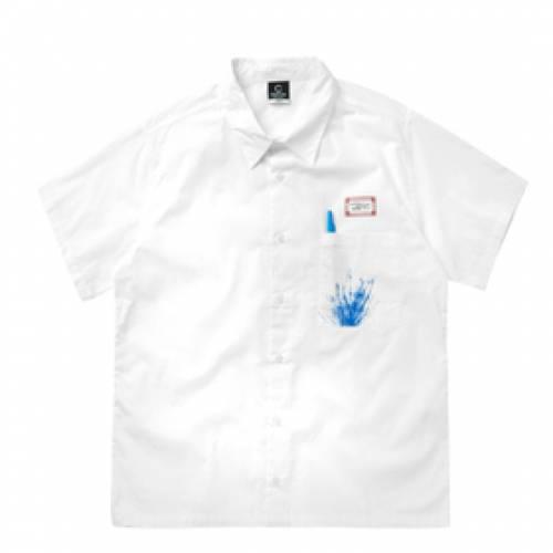 CLOTTEE 白 ホワイト 【 WHITE CLOTTEE PEN SHIRT 】 メンズファッション コート ジャケット