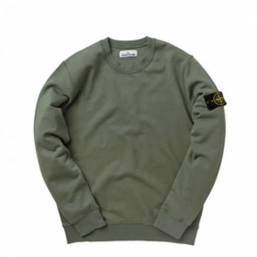 STONE ISLAND スウェット オリーブ 【 SWEAT OLIVE STONE ISLAND GARMENT DYED CREW 】 メンズファッション コート ジャケット