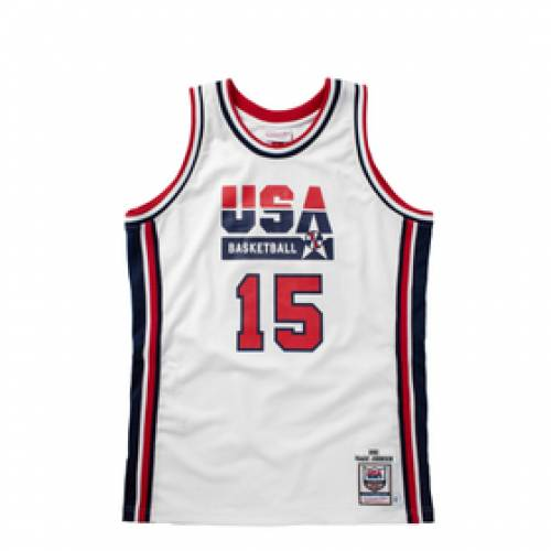 ミッチェル&ネス MITCHELL & NESS チーム バスケットボール オーセンティック ジャージ マジック ジョンソン 白 ホワイト & 【 TEAM WHITE MITCHELL NESS USA 1992 BASKETBALL AUTHENTIC HOME JERSEY MAGIC JO
