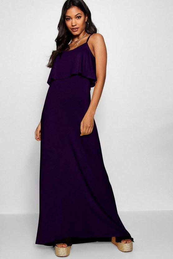BOOHOO BASICS ドレス 【 BOOHOO BASICS TIE BACK MAXI DRESS PLUM 】 レディースファッション ワンピース