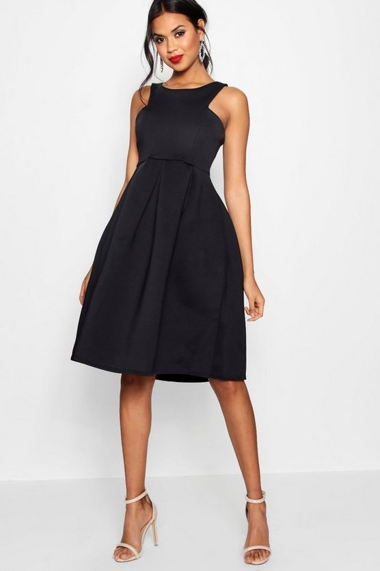 BOOHOO BOUTIQUE ドレス 黒 ブラック 【 BLACK BOOHOO BOUTIQUE SCUBA CUTAWAY NECKLINE MIDI BRIDESMAID DRESS 】 レディースファッション ワンピース