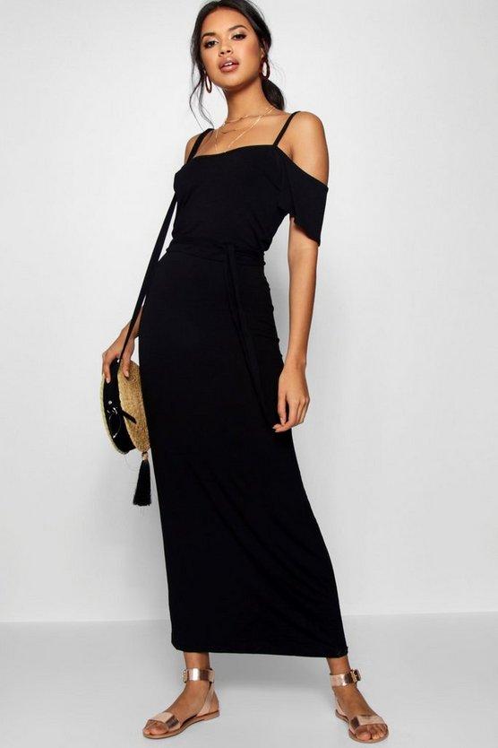 BOOHOO BASICS ドレス 黒 ブラック 【 BLACK BOOHOO BASICS OPEN SHOULDER MAXI DRESS 】 レディースファッション ワンピース