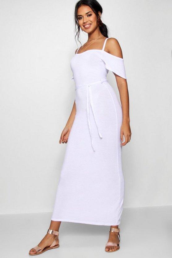 ブーフー BOOHOO 【 OPEN SHOULDER MAXI DRESS WHITE 】 レディースファッション ワンピース