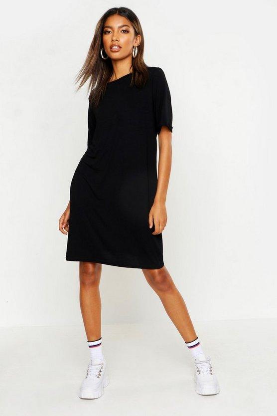 ブーフー BOOHOO Tシャツ ドレス 黒 ブラック 【 BLACK BOOHOO TURN BACK CUFF TSHIRT DRESS 】 レディースファッション ワンピース