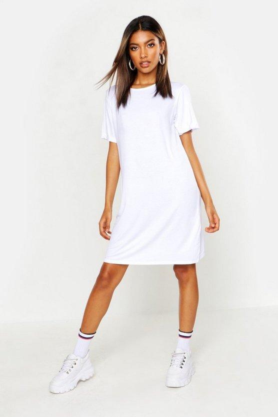 ブーフー BOOHOO Tシャツ ドレス 白 ホワイト 【 WHITE BOOHOO TURN BACK CUFF TSHIRT DRESS 】 レディースファッション ワンピース