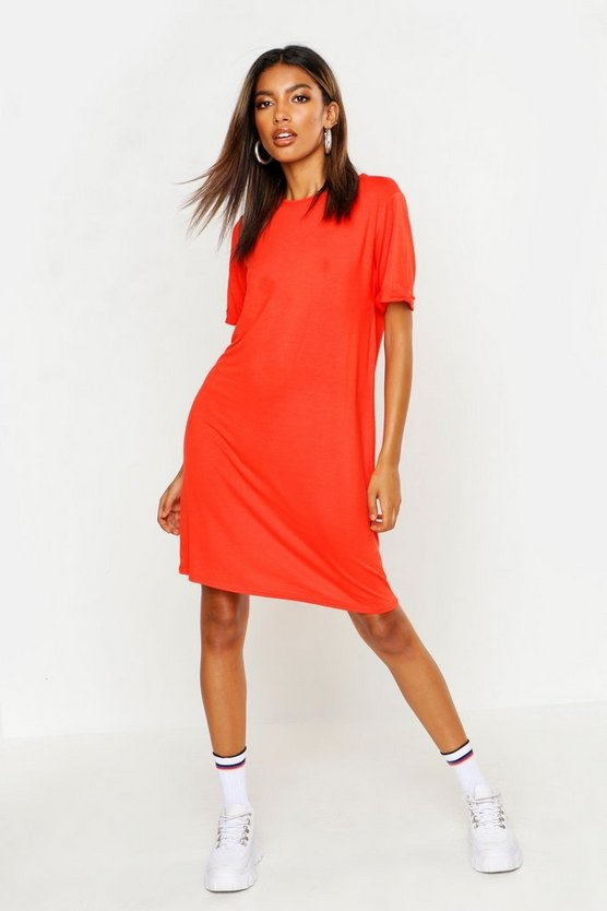 ブーフー BOOHOO Tシャツ ドレス 橙 オレンジ 【 ORANGE BOOHOO TURN BACK CUFF TSHIRT DRESS 】 レディースファッション ワンピース