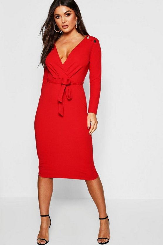 BOOHOO NIGHT ドレス レディースファッション レディース 【 Button Shoulder Belted Midi Dress 】 Red