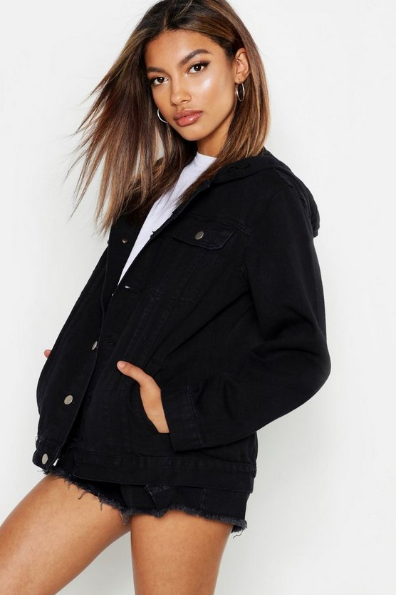 BOOHOO BLUE デニム 【 OVERSIZED HOODED DENIM JACKET BLACK 】
