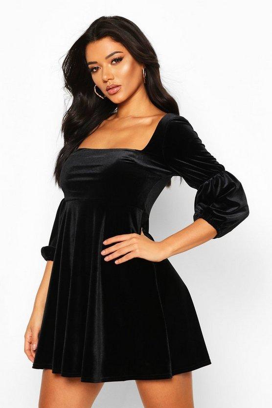 BOOHOO BOUTIQUE スリーブ ドレス レディースファッション ワンピース レディース 【 Velvet Double Puff Sleeve Skater Dress 】 Black