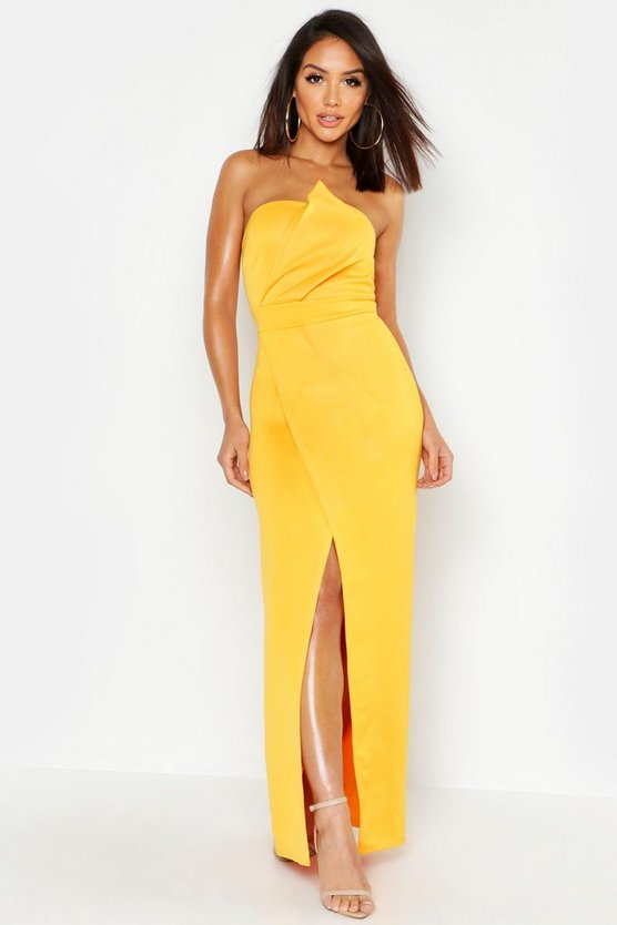 BOOHOO BOUTIQUE ラップ 【 WRAP BANDEAU DETAIL MAXI DRESS TURMERIC 】 レディースファッション ワンピース