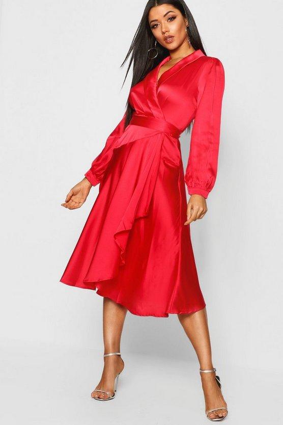 BOOHOO NIGHT サテン ラップ 【 WRAP SATIN DETAIL MIDI SKATER DRESS RED 】 レディースファッション ワンピース