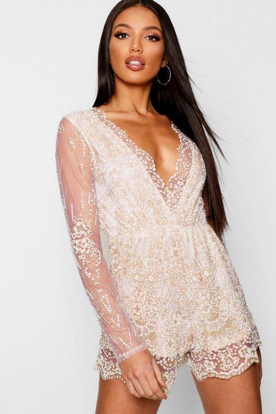 ブーフー BOOHOO レディースファッション オールインワン サロペット レディース 【 Glitter And Lace Playsuit 】 Champagne