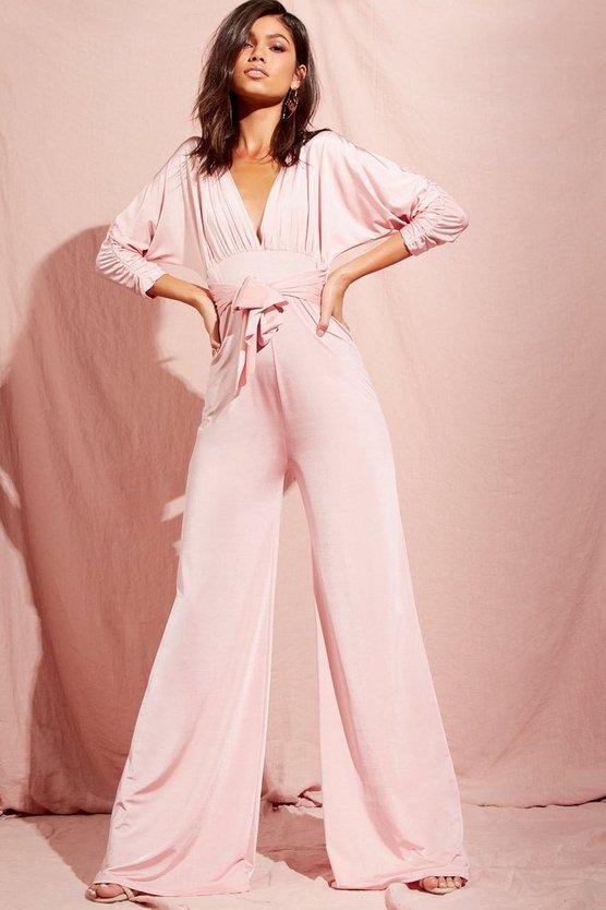 BOOHOO NIGHT レディースファッション オールインワン サロペット レディース 【 Batwing Drape Front Wide Leg Slinky Jumpsuit 】 Rose