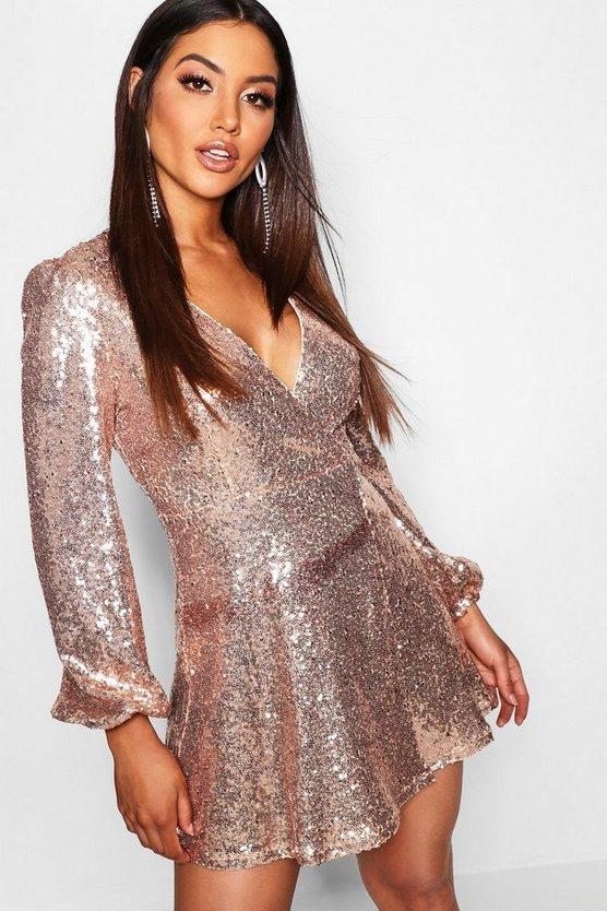 BOOHOO BOUTIQUE スリーブ ラップ ドレス レディースファッション ワンピース レディース 【 Sequin Long Sleeve Wrap Skater Dress 】 Rose