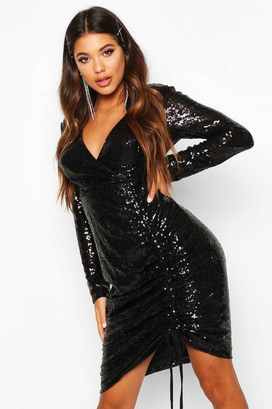 BOOHOO NIGHT ドレス レディースファッション ワンピース レディース 【 Sequin Plunge Neck Ruched Midi Dress 】 Black
