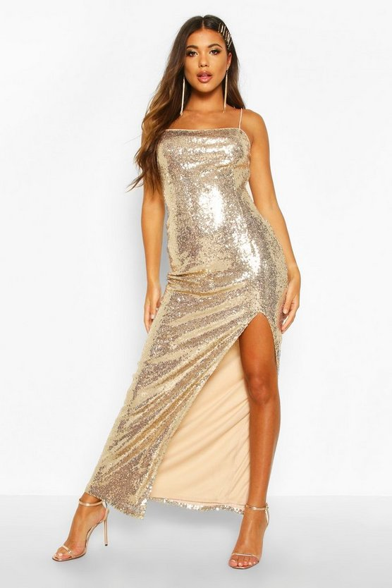 BOOHOO BOUTIQUE 【 SEQUIN SQUARE NECK SIDE SPLIT MAXI DRESS GOLD 】 レディースファッション ワンピース 送料無料