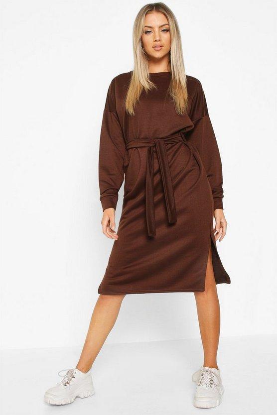 ブーフー BOOHOO ベルト ドレス レディースファッション ワンピース レディース 【 Self Belt Midi Sweatshirt Dress 】 Chocolate