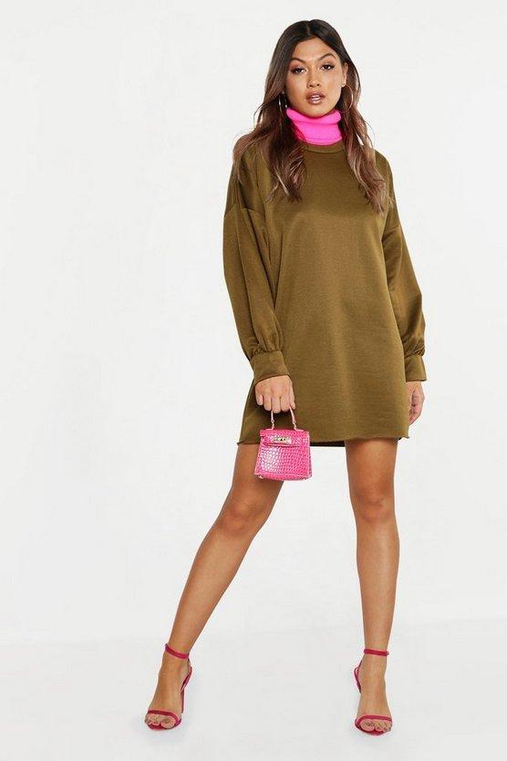 ブーフー BOOHOO スウェット 【 SWEAT THE PERFECT OVERSIZED DRESS KHAKI 】 レディースファッション ワンピース