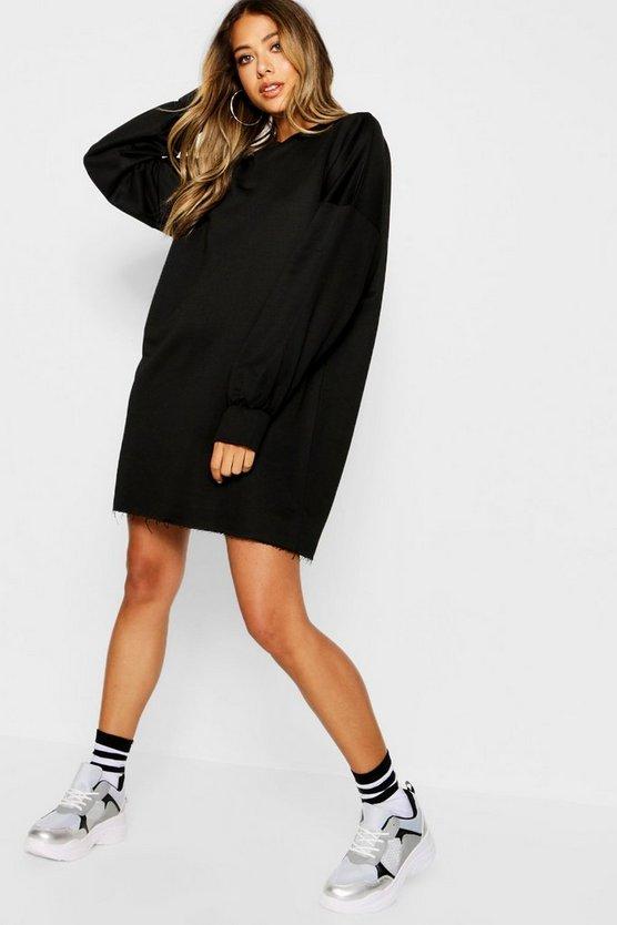 ブーフー BOOHOO スウェット 【 SWEAT THE PERFECT OVERSIZED DRESS BLACK 】 レディースファッション ワンピース