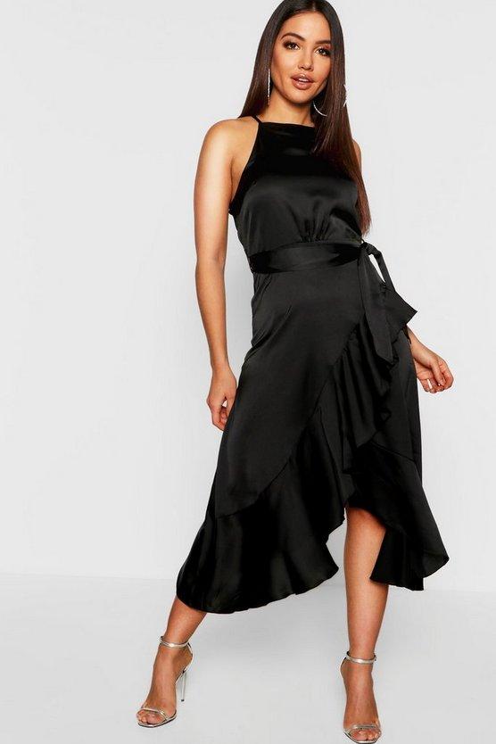 BOOHOO BOUTIQUE サテン ラップ ドレス 黒 ブラック 【 WRAP BLACK BOOHOO BOUTIQUE SATIN FRILL MIDI DRESS 】 レディースファッション ワンピース