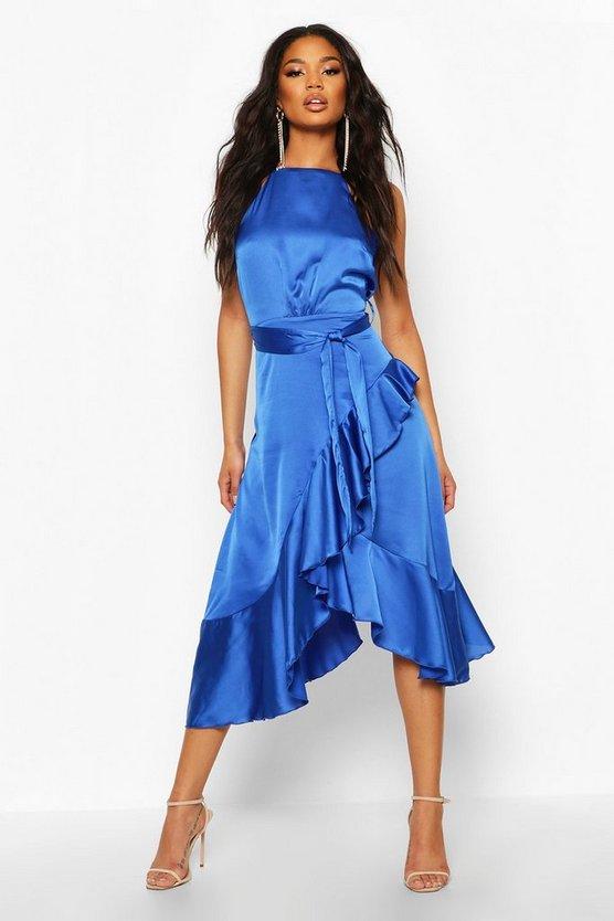 BOOHOO BOUTIQUE サテン ラップ ドレス レディースファッション ワンピース レディース 【 Satin Frill Wrap Midi Dress 】 Cobalt