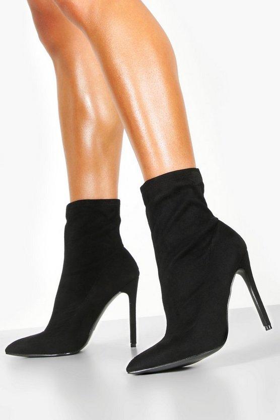 ファッションブランド カジュアル ファッション スニーカー マート ブーフー BOOHOO ブーツ 黒色 STILETTO 信憑 ブラック BLACK SOCK BOOTS TOE POINTED