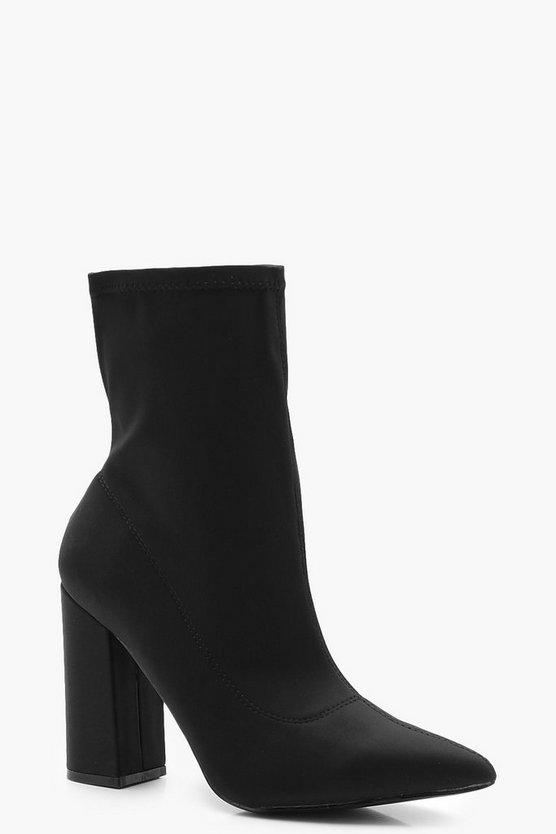 <title>ファッションブランド カジュアル ファッション スニーカー ブーフー BOOHOO ヒール ブーツ 訳あり 黒色 ブラック ワイドフィット BLOCK HEEL SOCK BOOTS BLACK</title>