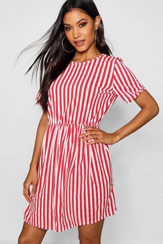 ブーフー BOOHOO 【 STRIPED GATHERED WAIST SMOCK DRESS RED 】 レディースファッション ワンピース