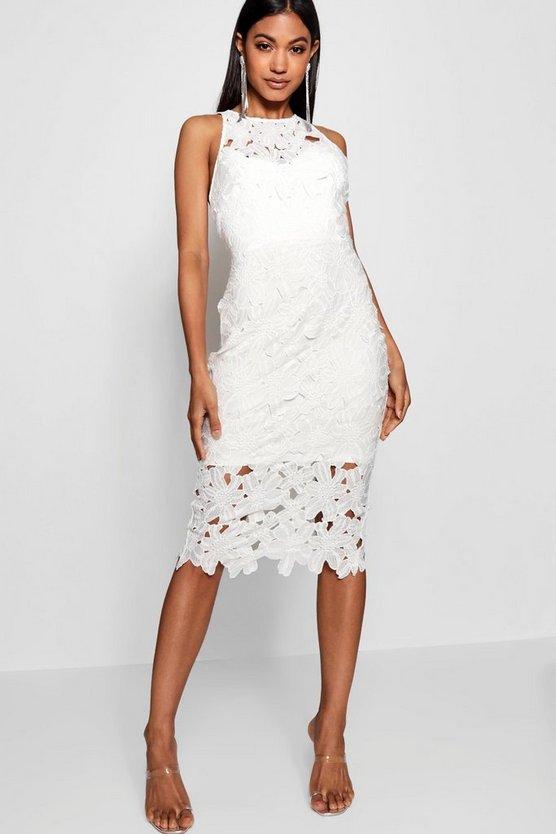 ブーフー BOOHOO ドレス レディースファッション ワンピース レディース 【 Lace Sweetheart Bodycon Midi Dress 】 White