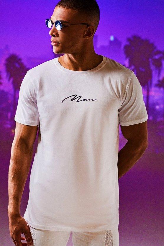 BOOHOOMAN Tシャツ 白 ホワイト 【 WHITE BOOHOOMAN MAN SIGNATURE EMBROIDERED TSHIRT 】 メンズファッション トップス Tシャツ カットソー