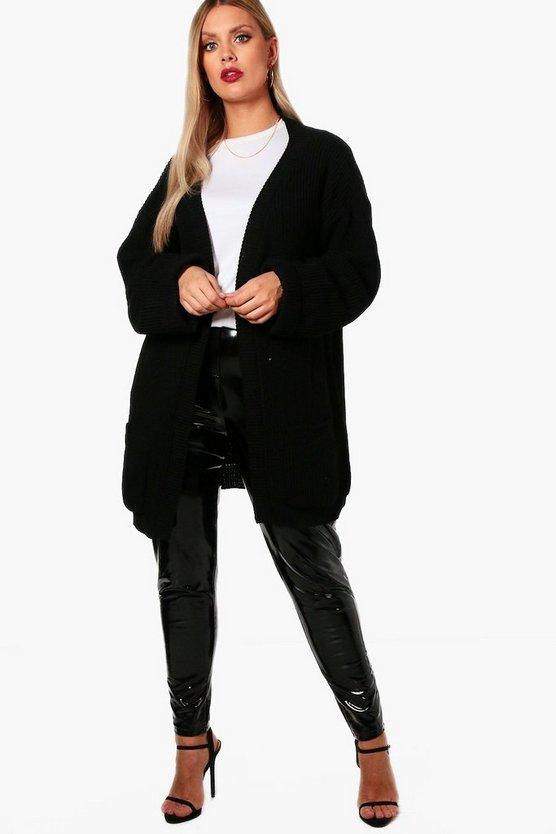 ブーフー BOOHOO 黒 ブラック 【 BLACK BOOHOO PLUS CHUNKY OVERSIZED CARDIGAN 】 レディースファッション トップス カーディガン ボレロ
