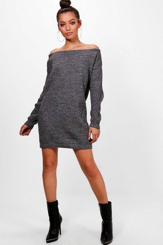 ブーフー BOOHOO ニット 【 SLASH NECK MARL KNIT JUMPER DRESS BLACK 】 レディースファッション ワンピース