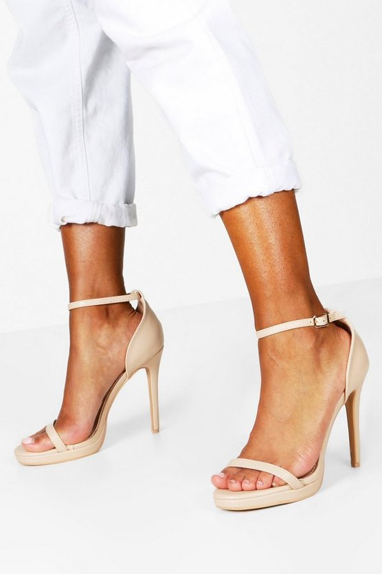 ブーフー BOOHOO 【 BOOHOO SINGLE PLATFORM TWO PART HEELS NUDE 】