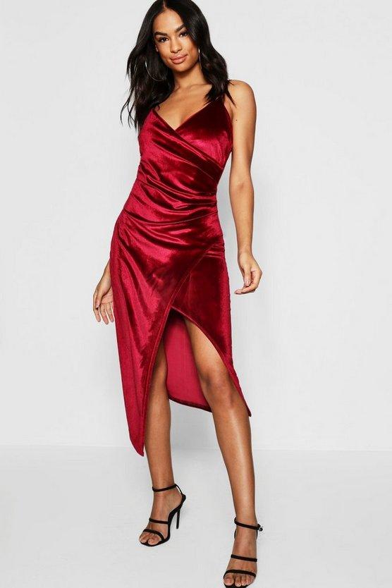 BOOHOO TALL ラップ ドレス レディースファッション ワンピース レディース 【 Tall Velvet Wrap Midi Dress 】 Berry