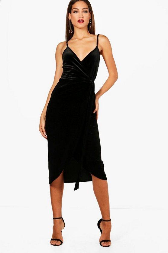 BOOHOO TALL ラップ ドレス レディースファッション ワンピース レディース 【 Tall Megan Wrap Velvet Dress 】 Black