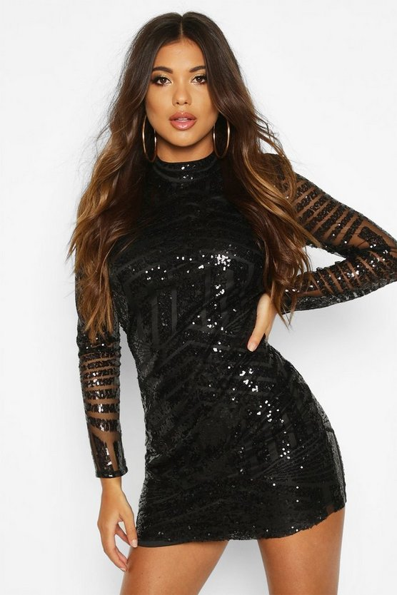 BOOHOO NIGHT ドレス レディースファッション ワンピース レディース 【 Boutique Sequin And Mesh Bodycon Dress 】 Black