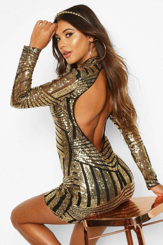 BOOHOO NIGHT ドレス レディースファッション ワンピース レディース 【 Boutique Sequin And Mesh Bodycon Dress 】 Gold