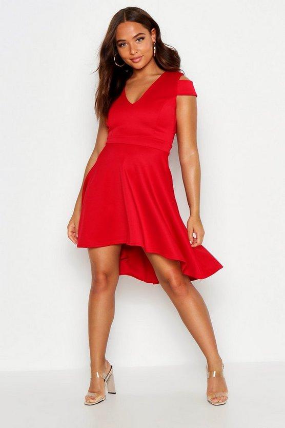 BOOHOO BASICS ハイ ドレス 赤 レッド 【 RED BOOHOO BASICS BARDOT PLUNGE HIGH LOW SKATER DRESS 】 レディースファッション ワンピース